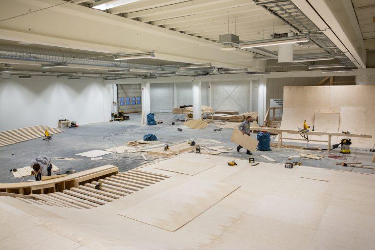 Bygge av skatehall i Skellefteå.